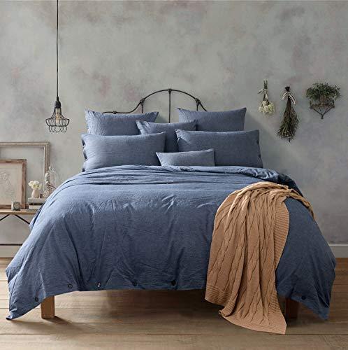 NEU. Aus 100% natürlichen gewaschen Baumwolle Bettbezug Set, extrem strapazierfähig & pflegeleicht, hypoallergen, baumwolle, denim-blau, Queen - Baumwolle Denim Tröster