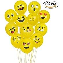 Balloons emoji di SKYIOL, aerostati di lattice 100Pcs, palloncini di smiley per i compleanni del partito di compleanno del bambino, favori di cerimonie di cerimonia nuziale di novità, colore giallo (100 Pcs Emoji Balloon)