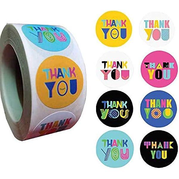 2000Pz Etichette adesive Grazie Thank You Adesivi Etichette Autoadesivo Rotonde Thank You Grazie Handmade Sticker Fatti a Mano Sticker 1 Roll 1 pollice