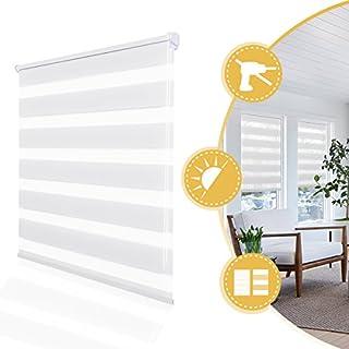 Store Enrouleur Jour Nuit sans Perçage Blanc 75 x 230 cm – 2 Types de Fixation – Montage Facile avec Clips -Double Tissu - 11 Couleurs