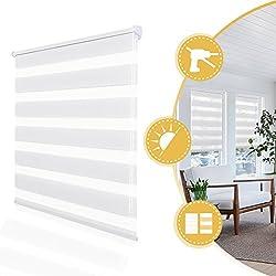 Doppelrollo Klemmfix onhe Bohren Duo Rollo 60 x 150 cm Weiß, Fensterrollo für Fenster und Tür, lichtdurchlässig und verdunkelnd