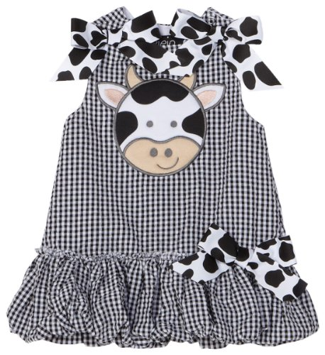 Mud Pie 180152 Cow Bubble Dress Kleid schwarz weiß - Mud Kleider Pie