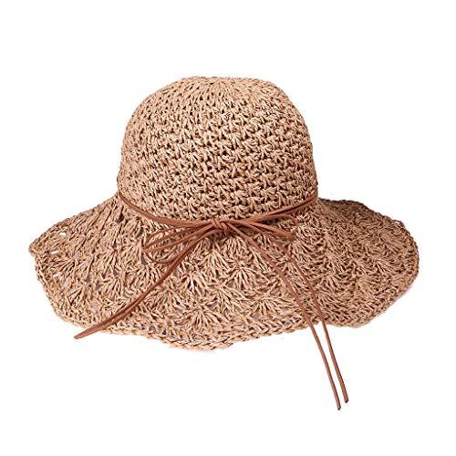 Poachers Hut,FrüHling Und Sommer Frauen Handgemachte Sonnenschirm Faltbare Lederband Mit Strohhut