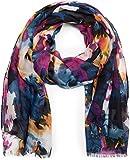 styleBREAKER Schal mit buntem Blumen Batik Muster, Fransen, Tuch, Damen 01016148, Farbe:Dunkelblau-Pink-Weiß-Gelb