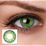 2 Grüne Kontaktlinsen ohne Stärke + 1 GRATIS Behälter JAHRESLINSEN farbige grüne Kontaktlinsen für alle Augentypen