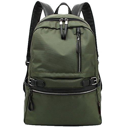 KAKA Laptop Rucksack Studenten Backpack Schulrucksack Outdoor Travel Daypack Tasche Damen Herren für 14 Zoll Notebook Campus Reisen Wandern Grün (Buch-tasche Backpack Canvas)