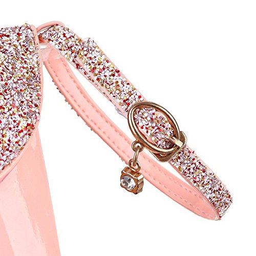 AllhqFashion Femme Couleur Unie Boucle Matière Souple Rond Chaussures Légeres Rose