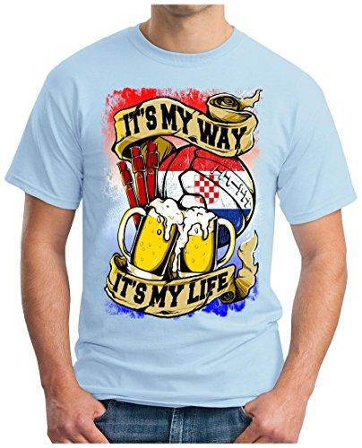 OM3 - CROATIA-MY-WAY - T-Shirt HRVATSKA MY LIFE EM 2016 FRANCE BIER BEER FANSHIRT SOCCER DRINK SPORT GEEK SWAG, S - 5XL Himmelblau