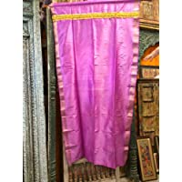 Mogul Interior Indian Sari Curtains Dark Pink Golden Lace Border Silk Drape Single Panel