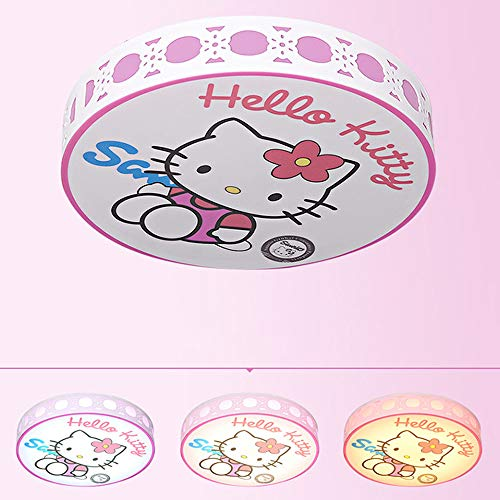 24W LED Deckenleuchten Dimmbar mit Fernbedienung 3000K-6000K Deckenlampe Pink Kitty Mädchenzimmer Deckenbeleuchtung Eisen Acryl für Kinderzimmer Spielplatz Schlafzimmer 40 * 40 * 10CM