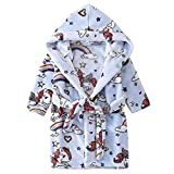 BaZhaHei Kids Hooded Strap Print Bathrobe Baby Boys Girls Pajamas Night Gown Unisex Sleepwear Nightwear Terry Towelling Bath Rope