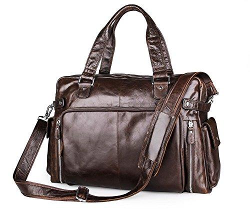 Everdoss Hommes sac à main en cuir de vache sac de messager sac à bandoulière sac d'épaule sac de voyage de grande capacité brun