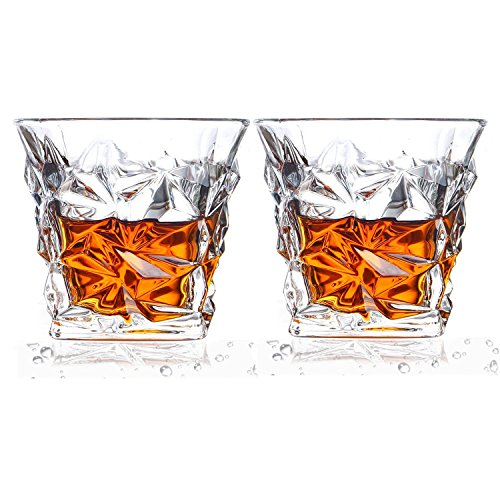 Cooko Bicchieri da Whisky Diamante,Bicchieri Cristallo Senza Piombo, Bicchieri da Whisky Scotch da 10.6 oz, 2 Bicchieri da Vino