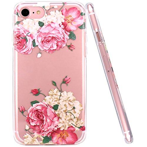iPhone 7 Plus Hülle, iPhone 8 Plus Hülle,JIAXIUFEN TPU Silikon Schutz Handy Hülle Handytasche HandyHülle Etui Schale Schutzhülle Case Cover für Apple iPhone 7 Plus / iPhone 8 Plus - Pink Purple Rose Pink Rose
