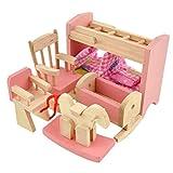 Peradix Minipuppen Holzspielzeug Puppenhaus Holzm?bel Spielzeug Kinderzimmer 8-teillig