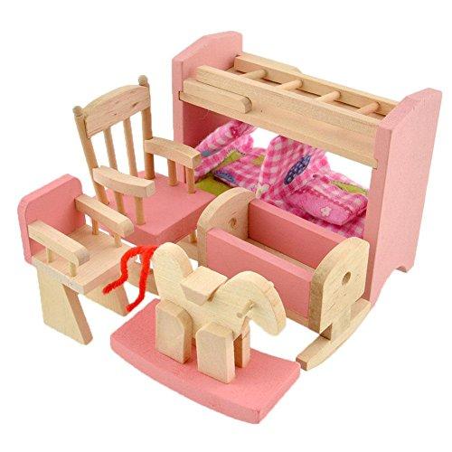 Peradix Minipuppen Holzspielzeug Puppenhaus Holzmöbel Spielzeug Kinderzimmer 8-teillig