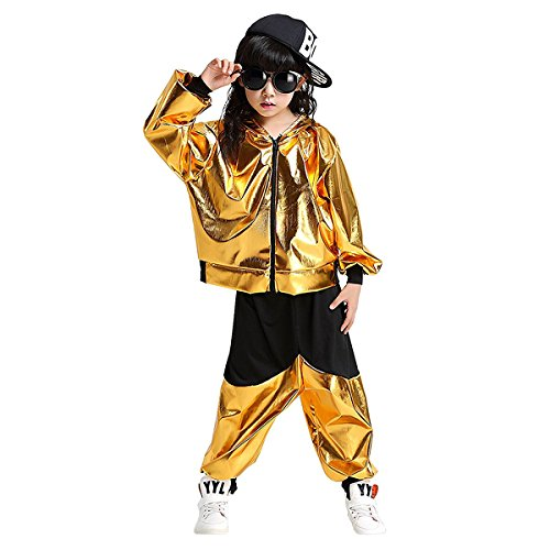 Kinder Tanz Kostüme Hip-Hop Jazz Performance Halloween Malen mit Kapuze Outfits (Gold, 128/134)