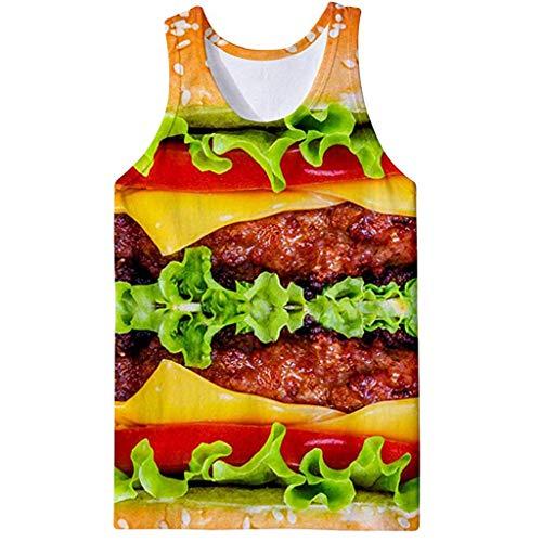 Xmiral Herren Weste Tops 3D Gedruckte T-Shirt Summer Sportshirt Sweatshirt Komfort Ärmellos Rundkragen Oberteile Tanktops(Gelb,S)