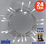 Fairy Lights 24 Cool White LED String Lights - Battery Operated - Ideal for Christmas, Festive, Wedding/Birthday Party Decorations - Total 2.9m Clear Cable - 3 x AA Batteries Included