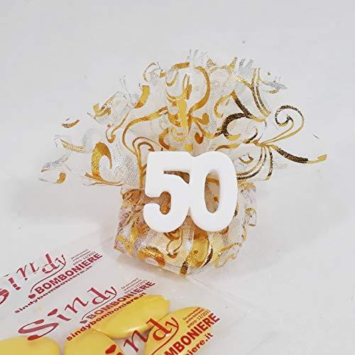 Sacchetto con tiranti portaconfetti bomboniere anniversario di matrimonio 50° gessetto profumato