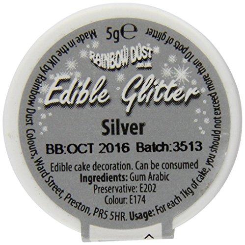 Rainbow Dust Edible Glitter, Silber, 5 g