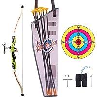 ALLESOK Arco y Flechas para Niños, Juego de Arco y Flecha Emulational para Niños con 6 Flechas