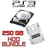 250GB Festplatte für SONY PS3 Super Slim (12GB, CECH-400x) + Einbaurahmen + Handbuch/Manual + Positionsschrauben