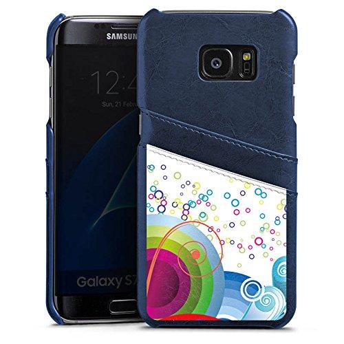 DeinDesign Samsung Galaxy S7 Edge Lederhülle Navy Leder Case Leder Handyhülle Bubbles Colourful Bunt Navy Bubble