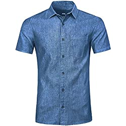 NUTEXROL Camisa de Hombre Camisa Vaquera para Verano Camisa de Estilo Retro, Camiseta Casual de Manga Corta,Azul, XL