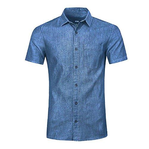 NUTEXROL Camisa de Hombre Camisa Vaquera para Verano Camisa de Estilo Retro, Camiseta Casual de Manga Corta,Azul, L