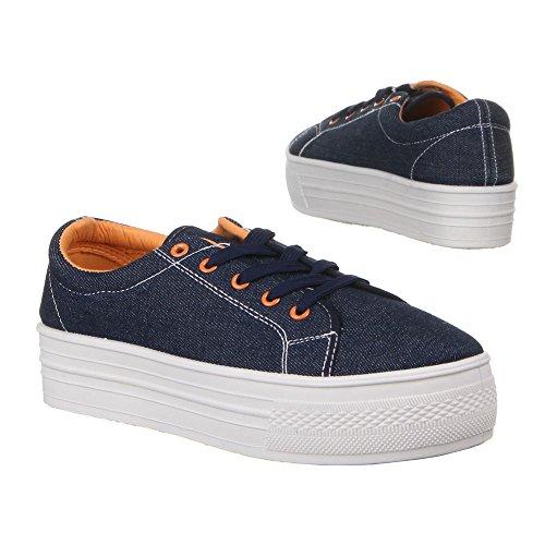 C206601S, chaussures basses femme Bleu - Bleu