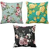 YaYa cafe Printed Rose Floral Flower Throw Cushions Pillow Covers 24x24 inches for Home Decor Sofa Chair Bedroom Living Room - Set of 3