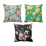 TYYC New Year Gifts for Home Roses Floral Pattern Printed Cushion Covers Set of 3 - 16x16 inches