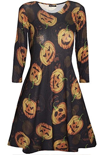 Oops Outlet Damen Skelett Schädel Pumpkin Halloween Kostüm Party Swing Kleid - Kürbis schwarz, Plus Size XXL (UK (Kleid Skelett Plus Size)
