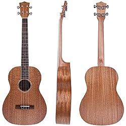 Caoba Kmise ukelele barítono Hawaii guitarra 30inch Abalone resonancia rosetón mate