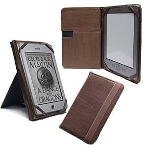 NAVITECH - Housse 6 pouces à rabat, en Chanvre de couleur marron, avec stand pour le Pocketbook 611 / 622 Touch