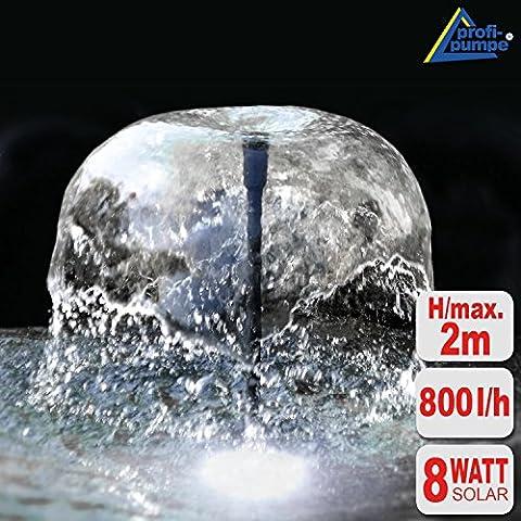 FUENTE SOLAR JARDIN - BOMBA SOLAR KIT OASIS 810-H HYBRID LED - fuente para jardín - fuente de agua decorativa con FUNCIÓN DE 230V 8Watt / altura del agua de máx. 2m, máx. 800 l/h