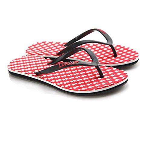 Baymate Donna Massaggio Infradito Antiscivolo Pantofole Da Spiaggia Sandali Rosso