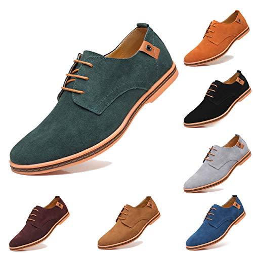 AARDIMI Herren Schnürhalbschuhe Klassische Oxford Wildleder Schuhe Smoking Schuhe Anzugschuhe Business Herren Halbschuhe (42EU=43Asien, Grün)