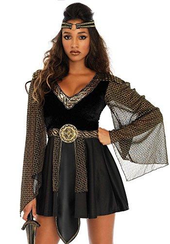 e Kriegerin Damen-Kostüm Schwarz/Gold von Leg Avenue GoT LARP Mittelalter, Größe:XL/XXL ()
