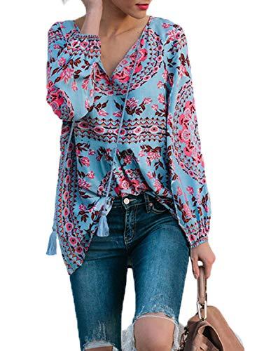 Asvivid Damen Fashion Bluse mit floralem Muster, langärmelig, V-Ausschnitt, Boho Bedruckt, Casual Hemd, Tops, Größe 39-52 Gr. (36-38) M, 1-Sky Blue - Sky Blue Chiffon