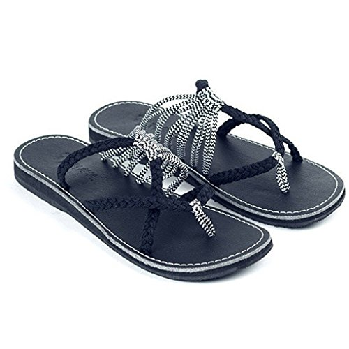 Minetom Sandalen Damen, Frauen Flip Flops Sandalen Sommer Schuhe Hausschuhe Mode Strand Schuhe Hausschuhe Kreuzgurte Geflochtenes Seil Römische Strandsandalen Schwarz - Weiß EU 42