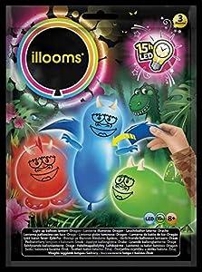 ILLOOMS - Lote de 3 globos LED luminosos DINO DIY, multicolor