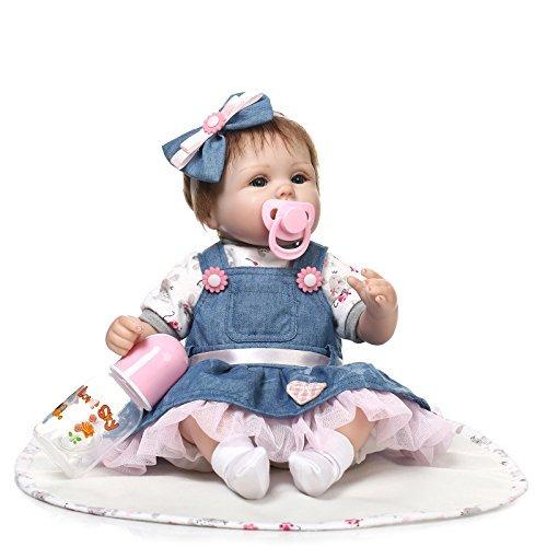 """Real Life Reborn Baby Dolls 18"""" Suave Vinilo de Silicona Reborn Lifelike Bebé Recién Nacido Regalo de Juguete"""