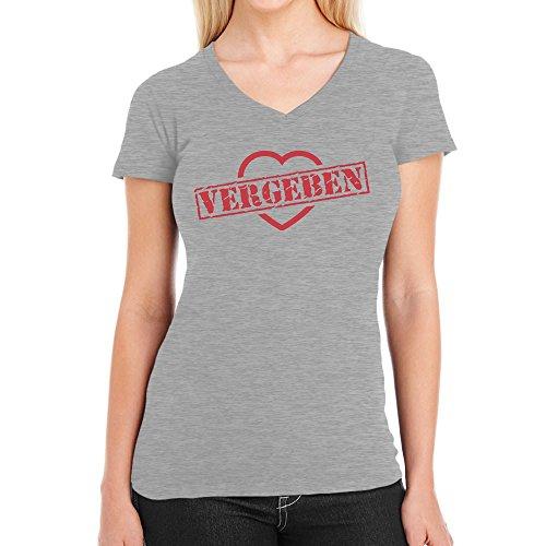 Vergeben Stempel auf Herz - Design für Verliebte Damen T-Shirt V-Ausschnitt Grau