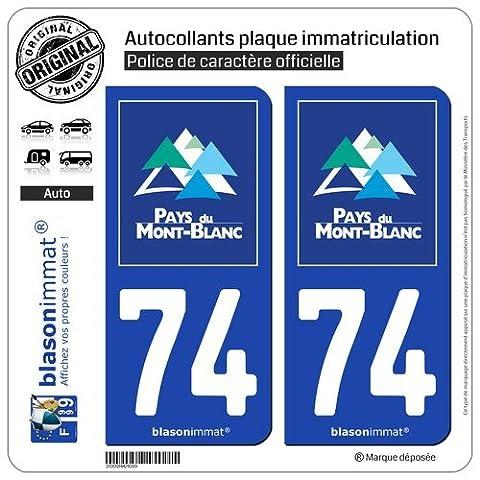 2 Autocollants de plaque d'immatriculation auto 74 Mont-Blanc - Pays