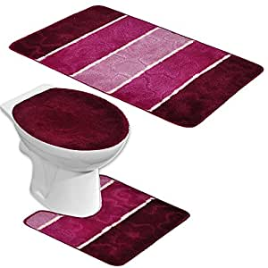 badgarnitur orion 3 teilig badmatte bad set bordeaux rot lila stand wc baumarkt. Black Bedroom Furniture Sets. Home Design Ideas