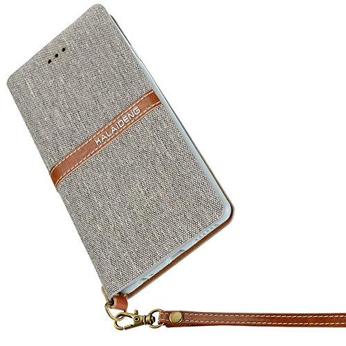 Mobiltelefonhülle - KALAIDENG FUNWEAR X Serie für iPhone 6 & 6s Leinen Leder + TPU Horizontale Flip Leder Tasche mit Card Slots & Halter & Lanyard ( Farbe : Schwarz ) Grau