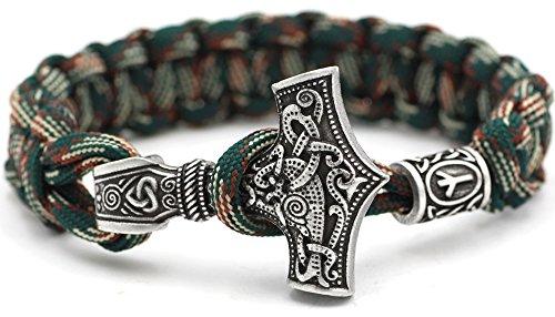 le - Viking Wikinger Thor`s Hammer Thorhammer Armband - 100% Handarbeit Outdoor Buntes Grün Einzigartiges Paracord Antike Silber Armreif Raven Nordisch Keltisch Nr.51 ()