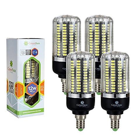 GreenSun LED Lighting Pack de 4 unités E14 12W 5736 SMD Énergie d'économie d'énergie Ampoule LED de maïs 80W Equivalent lumières incandescentes (Blanc frais)